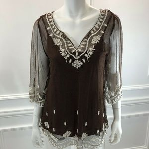 Sundance M Blouse Cami Set 2 Piece Brown Sheer E5